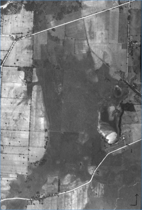 Silver Lake in 1937. Notice the different layout of drainage canals from that depicted in the map below