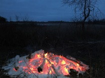 I love hanging out by a buckthorn fire on a winter night